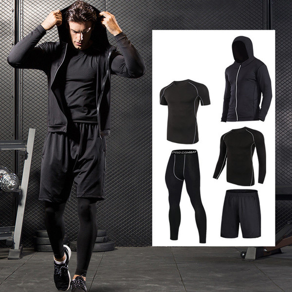 Quick Dry Sport Men Compression Running Suits Breathable Basketball Training Sportwear Gym Warm Workout Fitness Clothing Q190517