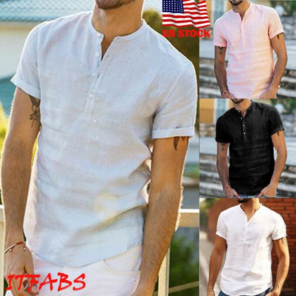 men's summer short sleeve solid color loose collarless cotton linen shirts male casual baggy shirts black blue pink white