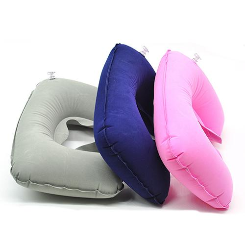 1Pc Inflatable Travel Air Cushion Neck Rest U Shape Plane Flight Portable Pillow
