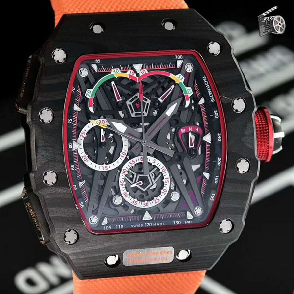 New 45mm luxury Mens Watch 50-03 Watch Swiss Quartz Chronograph Skeleton Dial Black Carbon Fiber Case Sapphire Senior canvas Rubber Strap