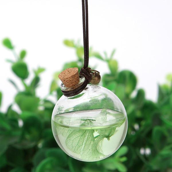 Flor de botella de perfume Cubo redondo vacío Coche de cristal Botellas colgantes Aceites esenciales Perfume Colgante Adorno Fragancia Aire más fresco T0328