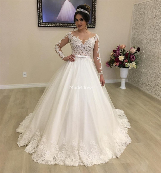 best selling Luxury Lace Princess Ball Gown Wedding Dresses Sheer Neck Illusion Long Sleeves Appliques Sweep Train Bridal Gowns Country Vestidoe De Noiva