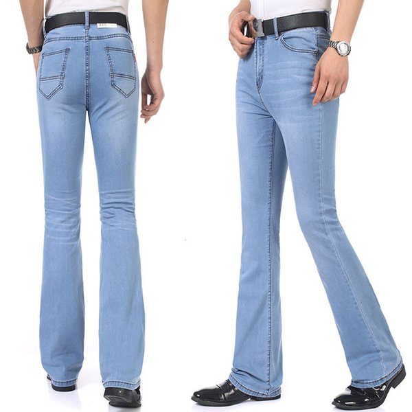 2019 Fashion Spring Casual Mens Bell Bottom Jeans Business Blue Mid Waist Slim Fit Boot Cut Semi Flared Flare Leg Denim Pants Plus Size 26 35 From