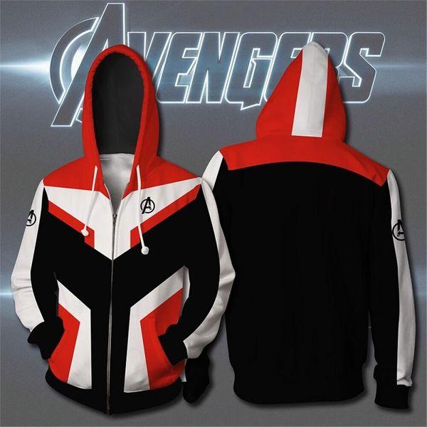 Avengers Endgame Cosplay Quantum Realm Costumes Sweatshirt Hoodie Jacket Captain Marvel Tech Hooded Superhero America Zipper Halloween Costumes Themes