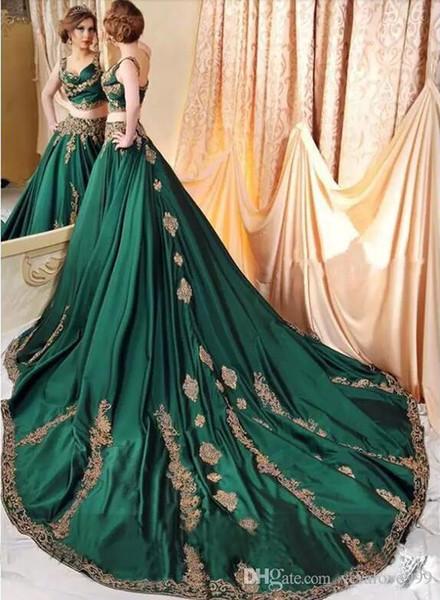 Robes de Soirée Abaya Indiennes Vertes 2019 avec des Dentelles Dorées Appliques De Bal robes Arabie Saoudite Perlées Caftan Robe Soirée