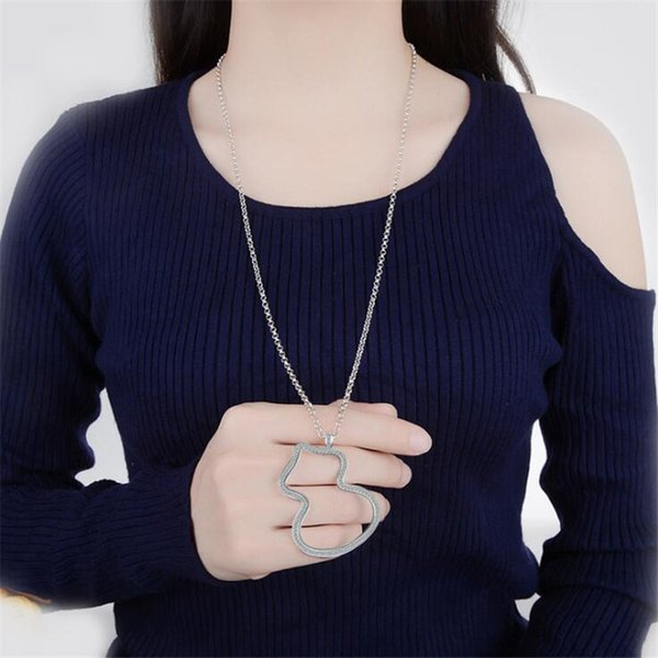 New Creative Temperament Fashion 925 Sterling Silver Jewelry Hollow Big Gourd Long Sweater Chain Pendant Necklaces H409