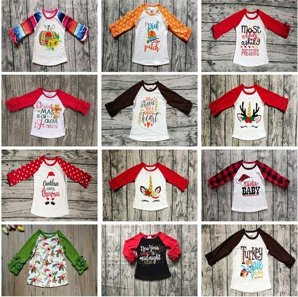 best selling Halloween Christmas Baby Girls Clothes Fall Long Sleeve T-shirts Kids Girls Dot Ruffle Sleeve Tops Baby Unicorn Letter Pumpkin Cotton Tops