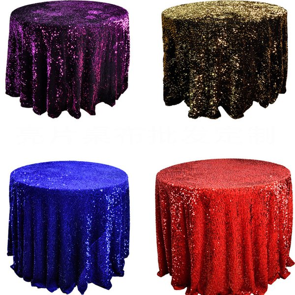 108 INCH Purple Tablecloth Polyester Sequin Table Cloth For Christmas Banquet Coffee Table Decoration Centerpieces For Wed Table Wholesale