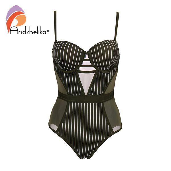 Andzhelika Stripe One-piece Swimsuit 2019 New Sexy Mesh Swimwear Backless Bodysuits Summer Beach Bathing Suit Monokini Ak75140 C19031101