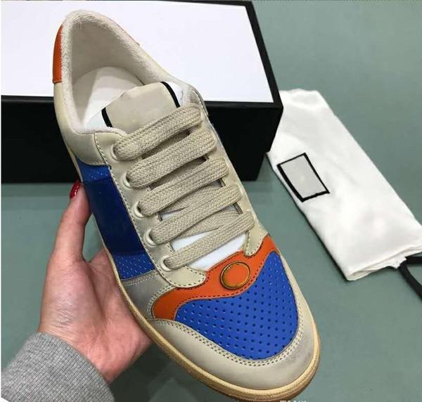 2019 Tamaño SUPERIOR 35-44 Hombres Mujeres Zapatos de diseño Screener desgastado Dapper Dan Suede Sneakers Italian Luxury Shoe Unisex Casual Shoe m18902