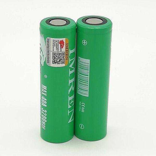 300pcs 100% imr 40a 18650 battery 3200mah 3.7v 40a rechargable lithium batteries fedex ups ing