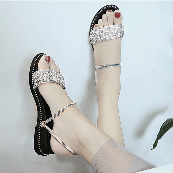 Women Shoes Sandals Women Platform Sandals Summer Slippers Crystal Bling Glitter Shoes Korea Style Flat Open Toe Silver