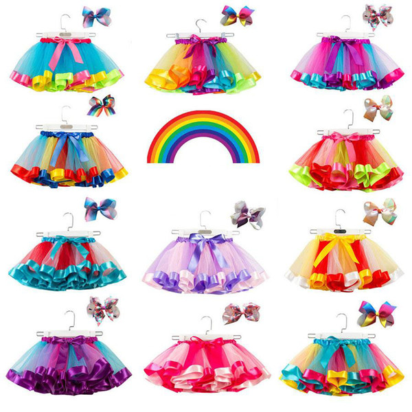 best selling 15 Colors Baby Girls Tutu Dress Candy Rainbow Color Mesh Kids skirts + bow barrettes 2pcs set kids holidays Dance Dresses Tutus