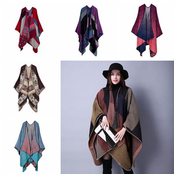 Women Plaid Poncho Vintage Women Wrap Winter Shawl Cardigan Blanket Cloak Coat Sweater Tops Lady Fashion Knit Scarves TTA1549
