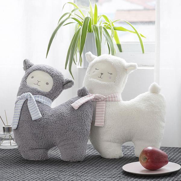 Neue Grau / Weiß Schaf Plüschtier decke Weiche Stofftier Schafe Alpaka Kawaii Kinder Geburtstag Geschenk Puppe
