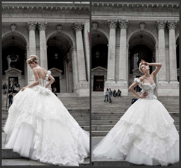 2019 New Pnina Tornai Ball Gown Wedding Dresses Lace Applique One Shoulder Lace-up Back Sweep Train Tulle Tiers Beads Bridal Gown