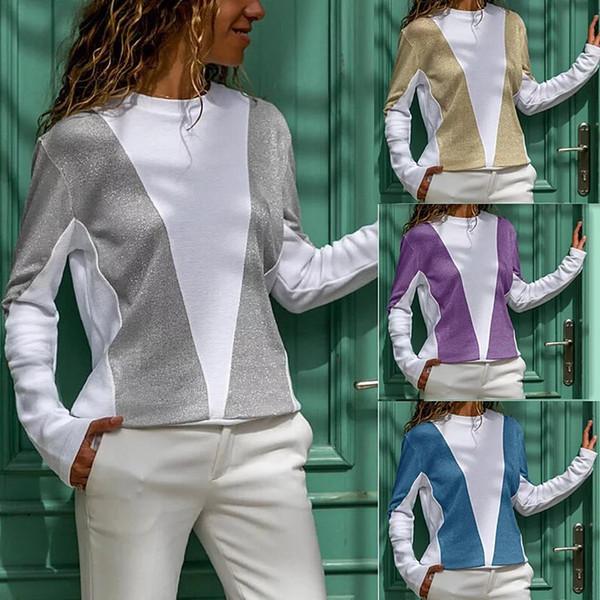 Досуг Женская Мода футболка с длинным рукавом O-образным вырезом Сплайсинг Уличная одежда Удобный Тренд Befree Пальто Свободное пальто Одежда