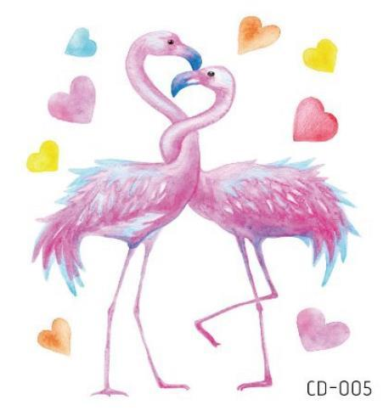 Etiqueta engomada del tatuaje falso tatuaje temporal Flamingo Love Heart Flash impermeable Tatto Tatouage Arte corporal para niña mujer niños