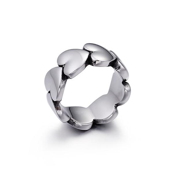 Gros belle bague en forme de coeur pour les femmes femelle bague en argent en acier inoxydable pour les filles nouvel an cadeau