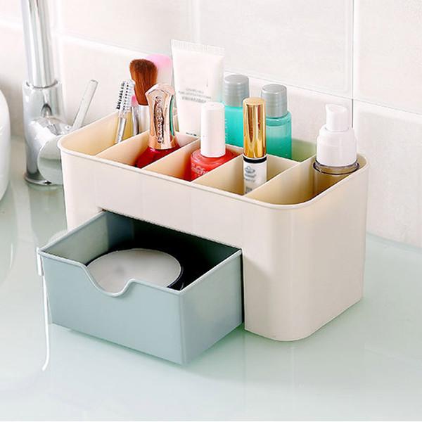 Cysincos Makeup Organizer Plastic Box Makeup Organizers Home Desktop Organizer For Cosmetics Portable Beauty Box Brushes Holder