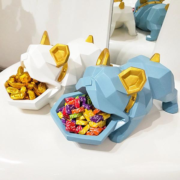Criativo Bulldog Caixa De Doces Decoração Sorte Cão Criativo Entrada Corretivo Disk Door Shoe Gabinete Caixa de Armazenamento de Chave Melhor Presente Home Decor