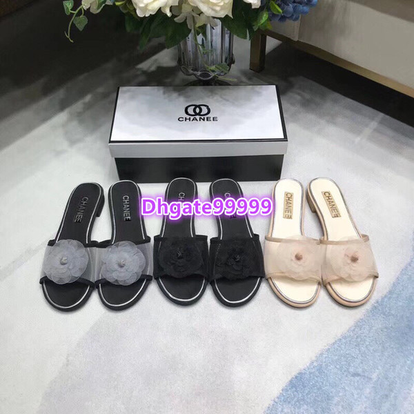 high end women girls slippers mule leather with mesh tulle camellia flat moccasins slip-on vintage gladiator loafer summer 2019 runway shoes