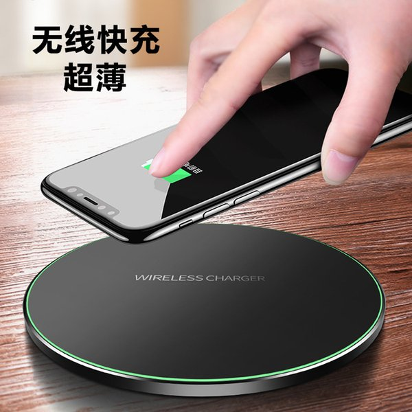 Ultra-thin wireless block charged QI circular transmitter for factory sale Aluminum alloy wireless charger iPhone 8 flash charged 9V