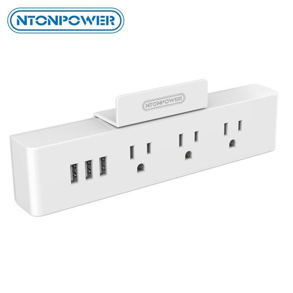 presa di corrente US NTONPOWER MNC Presa di corrente USB a parete Spina elettrica standard USA 3 Presa CA 3 Porte di ricarica intelligenti USB