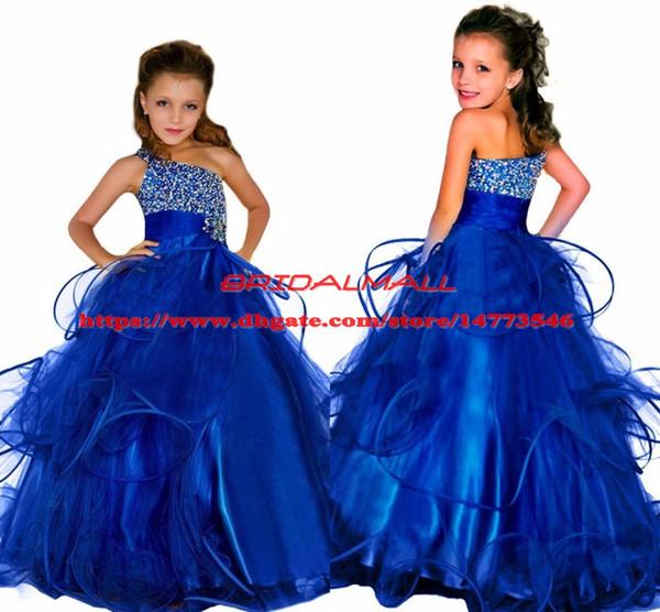 Principessa 2019 Abiti da spettacolo di perline di cristallo per le ragazze Fluffy Long Kids Abiti da ballo di compleanno formale Royal Blue Ball Gown Flower Girls Dress