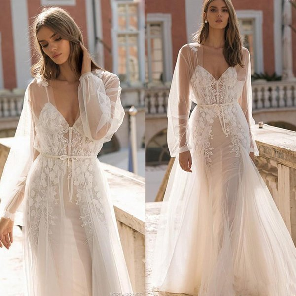 Newest Illusion Beach Wedding Dresses with Jacket Deep V-neck Appliques Boho Wedding Dresses Bridal Gown Tulle Berta Wedding Gown 2019