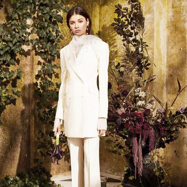 Weiß Elfenbein Mutter der Braut Hose paßt zweireihiges Abendkleid lange formales Outfit für Hochzeiten Smoking Blazer (Jacket + Pants)