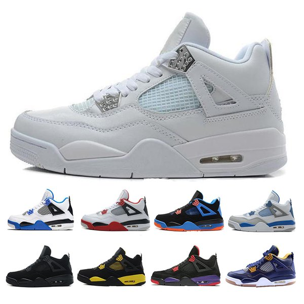 best service fd40a d4019 2019 All White 4s Best Men Basketball Shoes 4 Military Motosports Blue  Alternate 89 Pure Money Basketball Trainers Sports Sneakers US 7 13 From ...