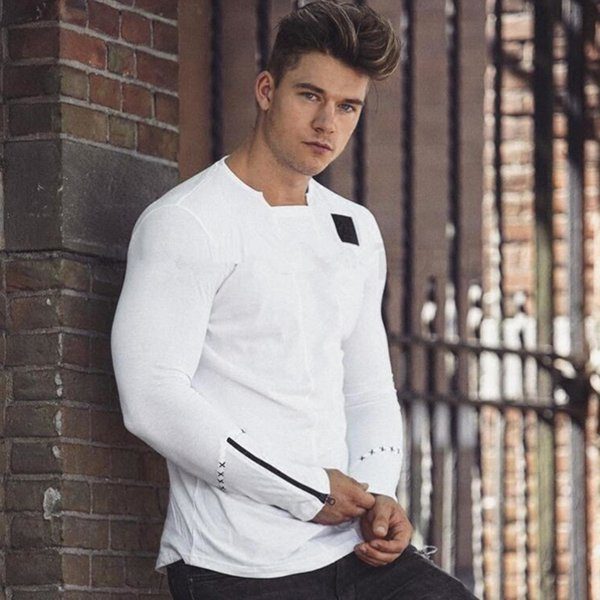 Brand Running t shirt Men 2017 Slim Shirts Male Top Gyms Bodybuilding Long Sleeve Personality t-shirt Sport Clothing Black White SH190911