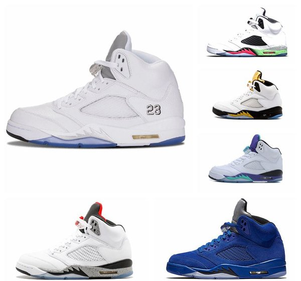 Nike Air jordan Scarpe da basket 5 5s a buon mercato Scarpe da uomo Uomo Donna Uomo Pelle scamosciata rossa Ali Lane Flight Orande Olympic Grape Oregon Ducks 2019 Scarpe di design