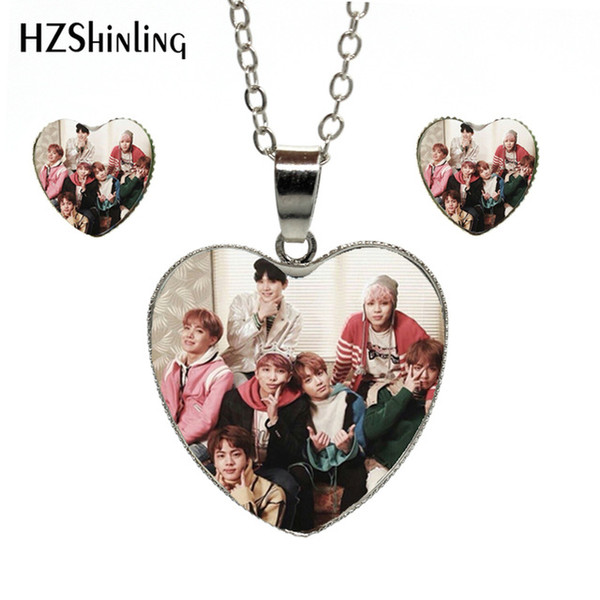 2019 New Trendy BTS Wings Teaser Heart Necklace Bangtan Boys Band Jewelry Glass Dome Pop Singer Heart Jewelry Set for Fans