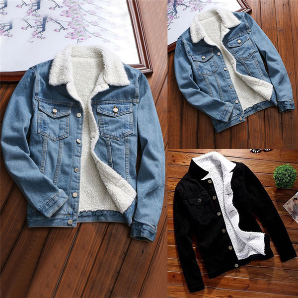 top popular Women Denim Jacket With Fur Women Autumn Winter Denim Jacket Warm Upset Jacket Vintage Long Sleeve Loose Jeans Coat Outwear Vintage Long Sle 2020