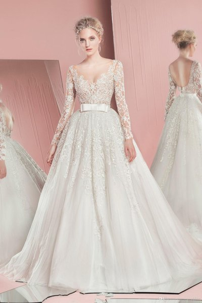Zuhiar Murad A Line Wedding Dresses V Sheer Neck Lace Applique Tulle With Detachable Skirt Bridal Gowns With Waist Bow Design Custom Made