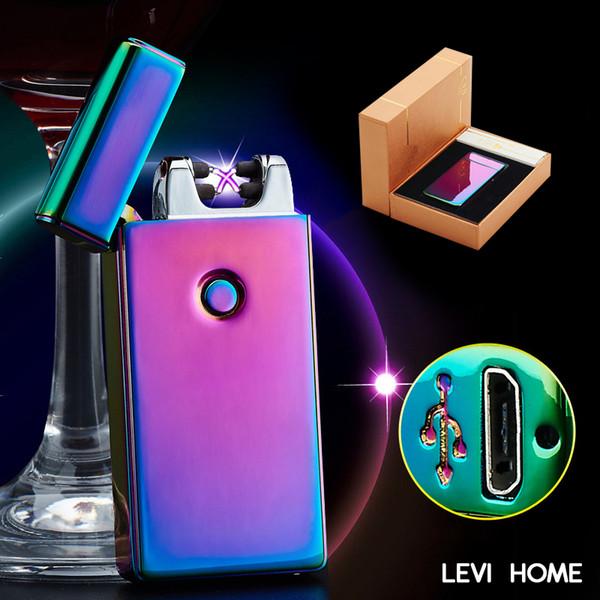 Double arc électronique Briquet 10 couleurs coupe-vent USB Pulse métal ultra-mince électrique rechargeable Arc Double Briquet 048