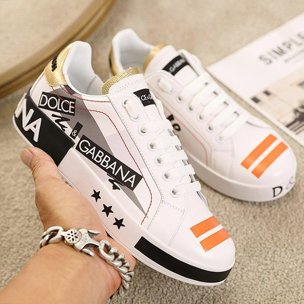 top popular limited top luxury men and women leather casual shoes, high quality Print pattern couple shoes fashion wild sports shoes Size: 35-45 0065 2019