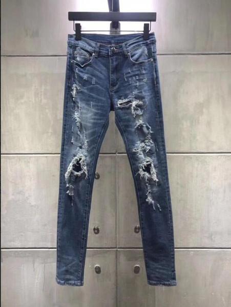 2019 Fashion Mens Loch brechen Sommer Jeans High Quality Classic Kultivieren Slim Jeans Klassische blaue Lokomotive perforierte elastische Jeans
