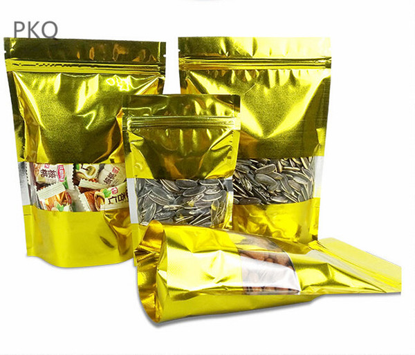 100pcs/lot free shipping gold bags stand up bag Zipper/zip lock packaging bag with window pouch for Food Tea Candy Cookie Baking