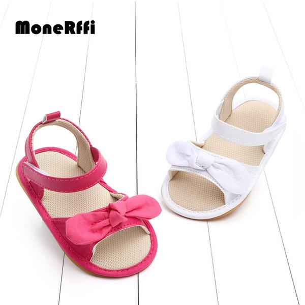 MoneRffi Летняя девочка Принцесса Сандалии Обувь для малышей Противоскользящая пляжная обувь Bowkont Мягкая подошва для младенцев 0-12 месяцев Уокер