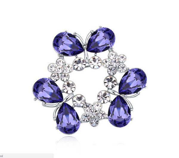 Free shipping fashion jewelry Using Swarovski Elemental Crystal Brooch Viburnum plicatum High-end Ornaments Brooches Pins