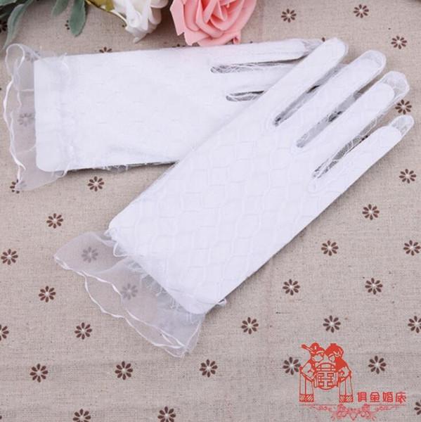 2019 Супер дешевые Full Finger наручные Длина Sheer тюль Свадебные перчатки кружевные свадебные перчатки Свадебные аксессуары
