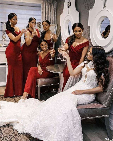 2019 Dark Red Satin Bridesmaid Dresses Off The Shoulder Mermaid Floor Length Maid Of Honor Wedding Guest Gown For Country Wedding Custom