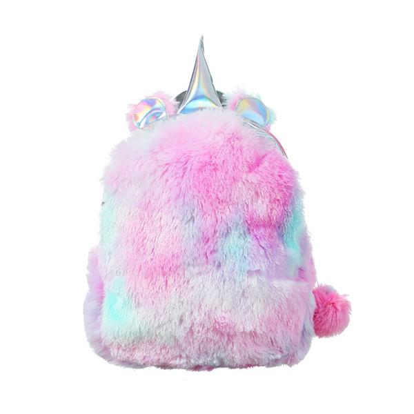 Mini unicorno zaino borse per le donne 2019 inverno faux fur piccoli zaini borsa ologramma in pelle adolescente zainetto mochila feminina # 112125