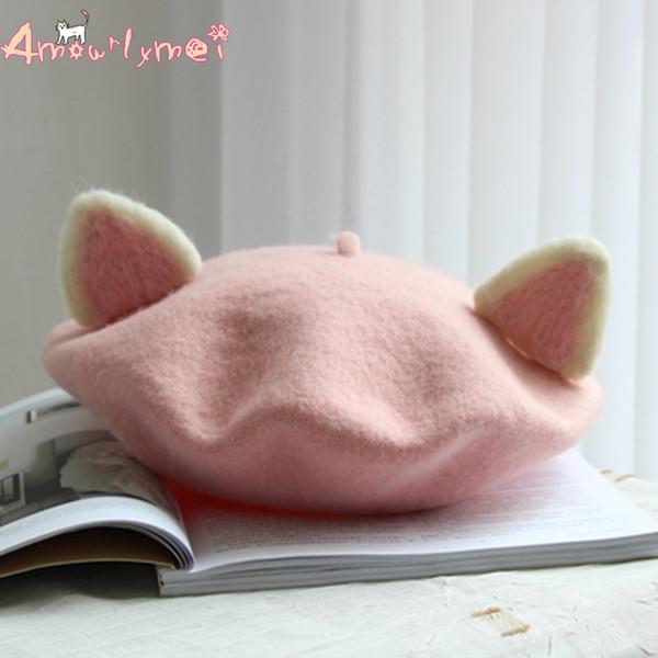 Amourlymei Sweet Princess Lolita Hat Stile giapponese Mori Girl Kawaii Cat Ear Hat Inverno Berretto caldo in lana Berretto manuale in lana