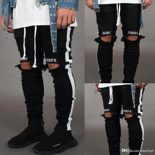 OFF designer jeans side ribbons hole letters casual pants designer luxury FF brand jeans high quality hot men's clothing wholesale