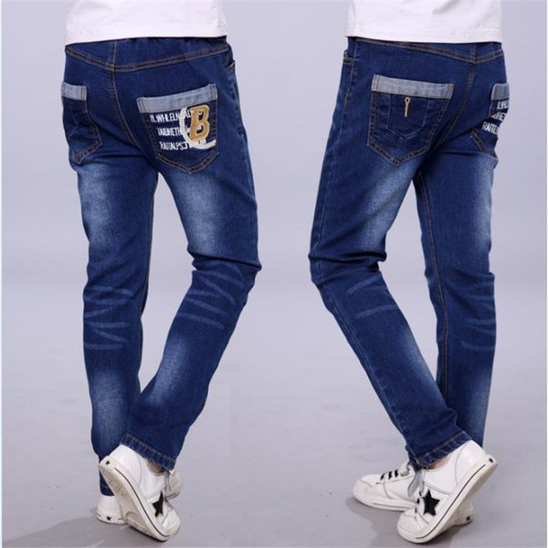 Boys Jeans 2018 New Tide Big Children Casual Trousers Baby Stretch Single Pants Children Pants Spring And Autumn J190517