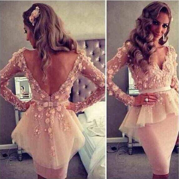 Myriam vaina Vestidos de fiesta de cóctel Longitud de la rodilla Sheer Manga larga 3D Flores florales Appliqued Short Blush Pink Vestido de fiesta sin espalda